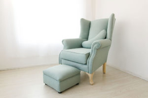 Standard Wingback Chair with Feeding Cushion and Foot Stool