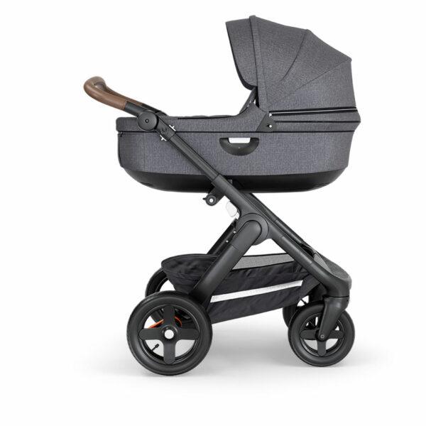 Stokke-Trailz-Chassis-Terrain-Wheels-Brown-Handle-Black-Melange-Carry-Cot